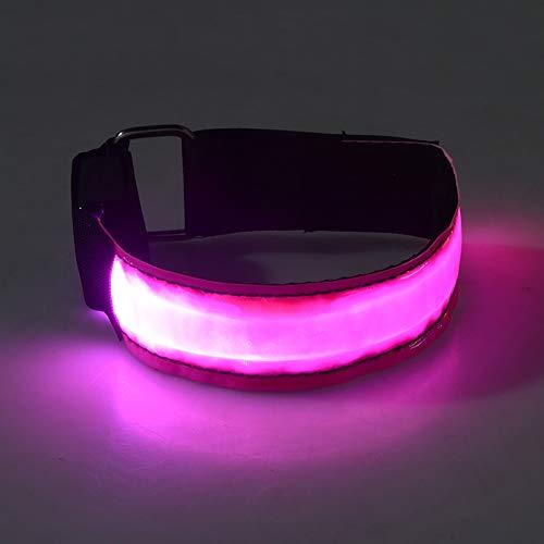 KAILUN LED Brazalete De Flash Pulsera Luminosa En El Pie Carga USB Carrera Nocturna Fluorescente Luz De Advertencia De Seguridad Siete Colores,Pink