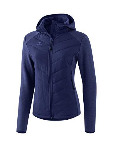 ERIMA Damen Steppjacke Function, mit seitlichen Reißverschlusstaschen und praktischer Kapuze, aus Funktionsmaterial, Blau (New navy), 38