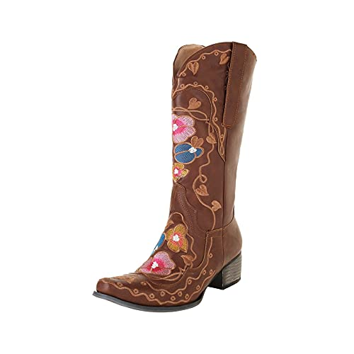 DKBL Cowboy Boots for Women Retro Embroidered Western Boots Fashion Low Heel Ankle Boots High Tube Knight Boots Brown