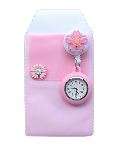 Black Temptation Reloj de Enfermera retráctil Reloj de Bolsillo con Clip portátil Reloj de Bolsillo con diseño de Dibujos Animados Lindo Reloj de Enfermera con Segunda Mano para médico Flor, F08