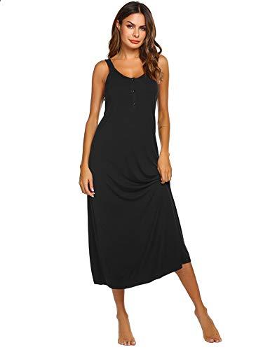 Ekouaer Womens Sleeveless Long Nightgown Summer Slip Night Dress Cotton Sleepshirt Chemise (Black XXL)