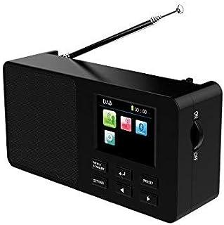 Yaakin DAB/DAB+ Digital & FM Radio, Portable Wireless, Bluetooth, with Stereo Sound, Dual Alarm Clock/Leather Effect Finish.