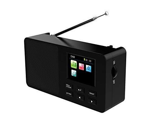 Yaakin DAB/DAB+ Digital und FM Radio, tragbar, kabellos, Bluetooth, mit Stereo-So&, Dual-Wecker/Leder-Effekt-Finish.