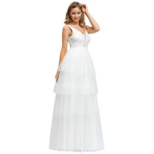 BGGYF Hochzeitskleid Elegantes Spitzen-Brautkleid A-Linie Doppel-V-Ausschnitt geschichtet Pailletten Aushöhlen Brautkleider Für Braut Robe Bodenlänge
