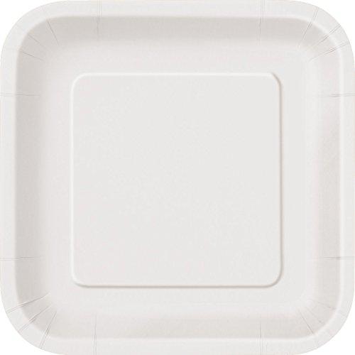 WG Platos de papel cuadrados de 7 pulgadas en una selección de 17 colores impresionantes, 6 paquetes de platos de papel (blanco)