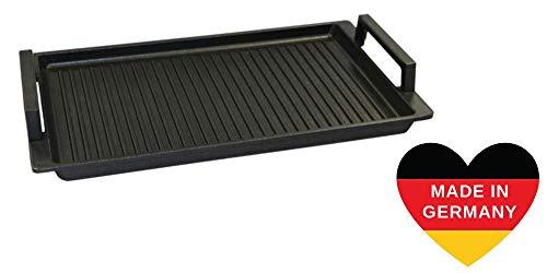 Lieblingspfanne - Grillplatte BBQ 41 x 24cm mit Seitengriffen antihaftbeschichtete Grill-Wendeplatte Aluminium Guss für alle Herdarten und Außengrill