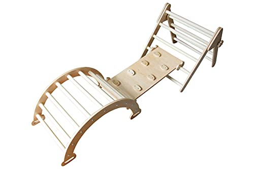 WoodenLikes Set of 3 Pickler Climbing Triangle for Kids & Toddlers - Montessori Climber Jungle Gym Slide Arch Ramp Indoor Playground - Climbing Toys for Kids Toddlers (Size M) (Natural Wood)