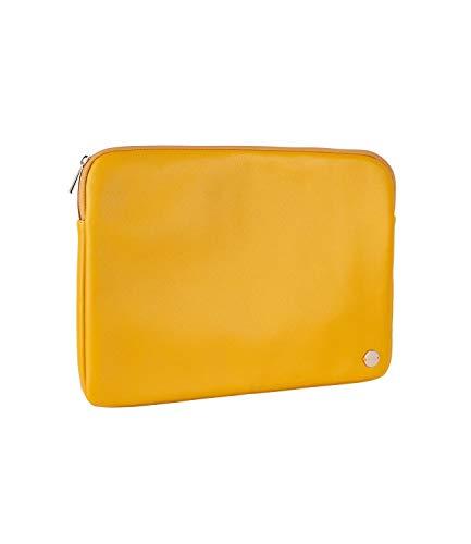 SIX Laptop-Tasche aus veganem Leder in modischem Senfgelb mit goldenen Details (703-633)