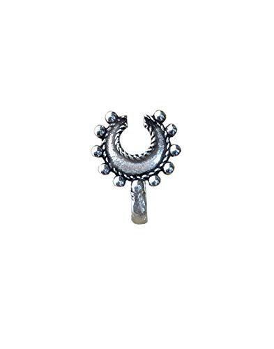 Abhooshan Designer and Tribal Horse Shoe Look Big Silver Alloy Nose Pin Studs for Women and Girls Stylish. (Clip On/Press On)