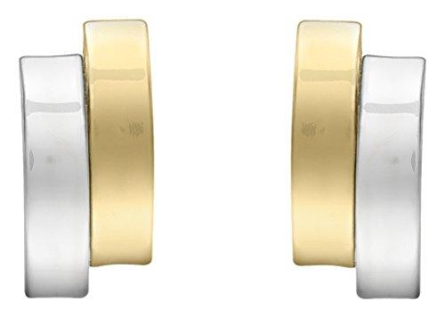 Carissima Gold Damen 2-tone 5.5 mm x 11.2 mm Asymmetrisch Doppel Gewölbt Bars Ohrstecker 9k (375) Gold