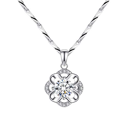 925Sterling Silver Four-Leaf Clover Pendant Fashion Four-Leaf Clover Flower Stamen Sterling Silver Pendant One Hundred Towers Necklace
