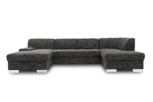 DOMO collection Star Wohnlandschaft, U-Form, Polstergarnitur, Sofa, Couch 150 x 304 x 150 cm in schwarzem Kunstleder