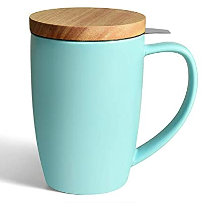 COYMOS Ceramics Tea Mug with Infuser and Lid, 16oz Loose Leaf Tea Cup Large Handle Teaware Mug, Great for Tea Lover Gift (Turquoise)
