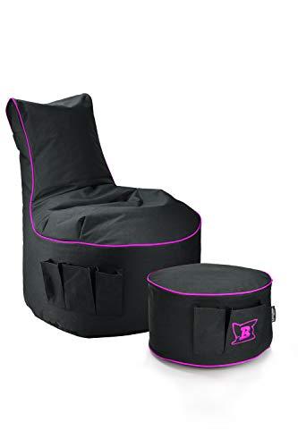 Maverick Gaming Set Sitzsack mit Sitzhocker/Fußbank Schwarz mit Keder Farben wählbar Beanbag mit Seitentaschen & Reißverschluss zum nachfüllen Playstation PS4 XBOX360 XboxOne Nintendo (Purple Lila)