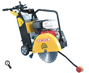 CORMAC CQ480 walk behind concrete floor saw max 18' blade 13Hp gasoline engine and water tank INCLUDES 1 x 18' CONCRETE BLADE