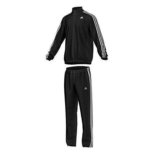 adidas Herren Trainingsanzug Basic 3-Stripes, Top:black/white Bottom:black/white, 6, S22486
