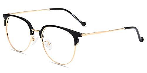 Firmoo Blaulichtfilter Brille Damen Schwarz Gold, Brille Entspiegelt ohne Sehstärke Computer Brille Herren, Blaulicht UV Schutzbrille für Bildschirme, Blaufilter Gläser Brille