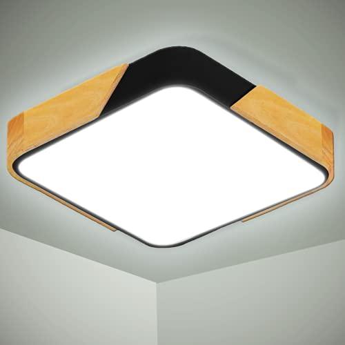 Kimjo 24W Lámpara de Techo LED, 2400LM Moderna Madera Cuadrada Plafon Techo LED Blanco Frio 6000K Luz Techo LED Para Habitacion Cocina Sala de Estar Dormitorio Pasillo Comedor Balcón Oficina
