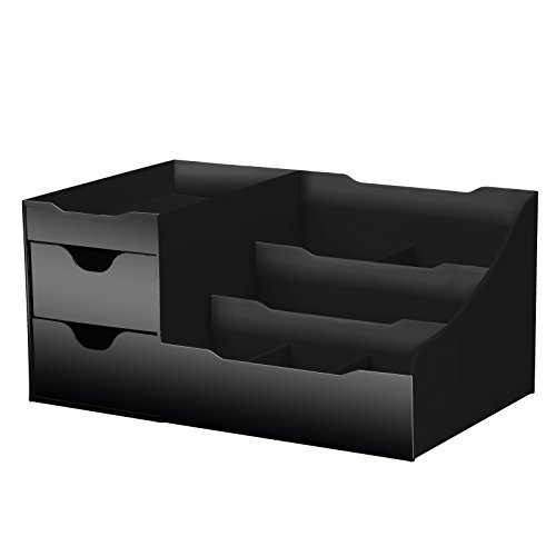 Uncluttered Designs Makeup Organizer with Drawers (Black)