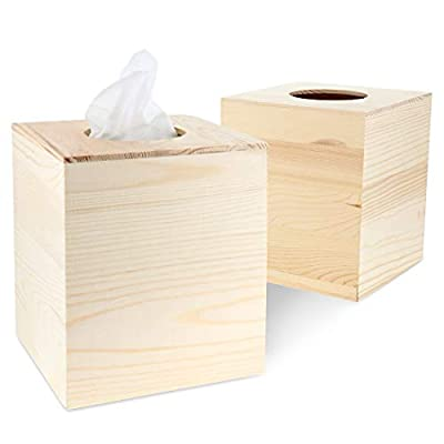 Juvale 2-Pack Unfinished Natural Wood Tissue Box Cover Holder for DIY Wooden Crafts, 5 x 5.5 Inches