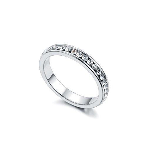 RedFly Clear Tiny CZ Crystal 18ct wit goud vergulde vrouwen bruiloft verlovingsringen, maat M
