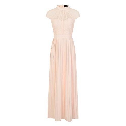 Little Mistress Womens/Ladies Lace Pleated Maxi Dress (6) (Nude)