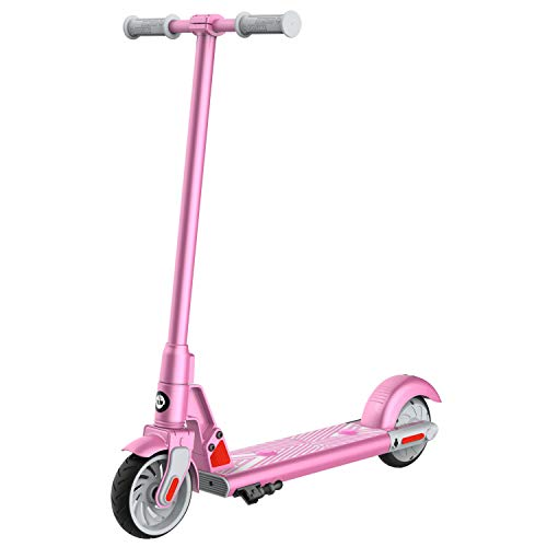"Gotrax gks electric scooter, kick-start boost and gravity sensor kids electric scooter, 6"" wheels ul certificated e scooter for kids age of 6-12 (pink)"