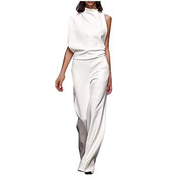 UOFOCO Women Elegant One Shoulder Plain Wide Leg Long Playsuit Jumpsuit  Medium,White