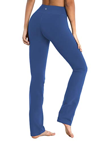 "BUBBLELIME 29""/31""/33""/35"" 4 Styles Women's Straight Legs Yoga Pants Tummy Control - Straight Leg_Purplishblue XL_29"" Inseam"