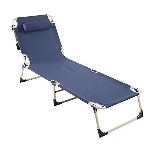 AWJ Sedia reclinabile Pieghevole, Sedia reclinabile Portatile da Esterno Sedia reclinabile Pieghevole Sedia Semplice Letto per pisolino (Blu)