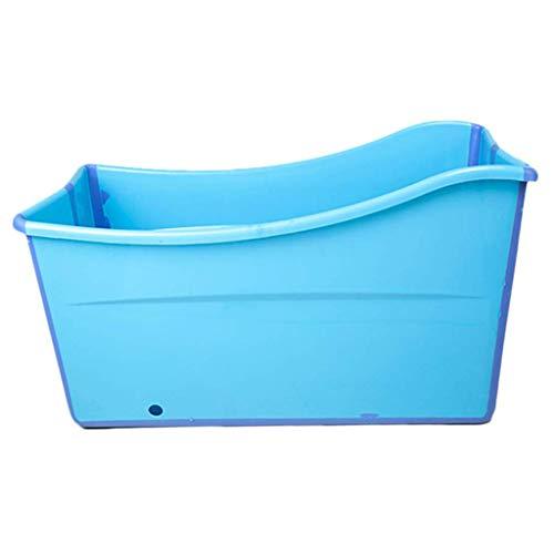 JSYCD Kunststoff Eindickung Folding Badewanne, Twin Kinder Erwachsener Große Badewanne, Haushalt-beweglicher Badebottich, ohne Abdeckung, Blau