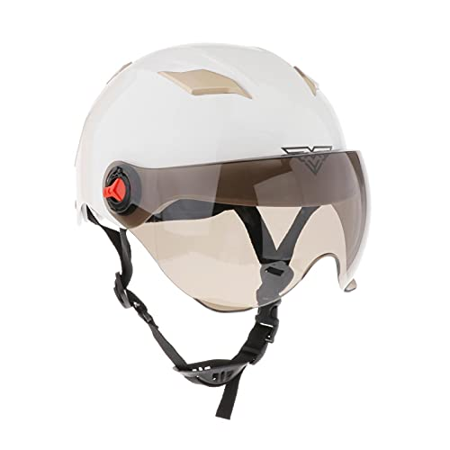 F Fityle Casco de Motocicleta de Cara Abierta, Ajustable 56-62cm Circunferencia de La Cabeza Casco de Carreras con Visera Protector de Cabeza para Montar en Bi - Blanco