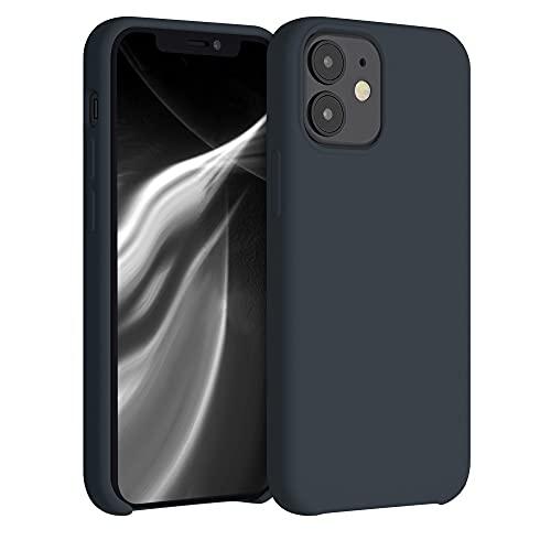 kwmobile TPU silikonfodral kompatibelt med Apple iPhone 12 mini – smalt skyddande telefonskydd med mjuk finish – blåbär