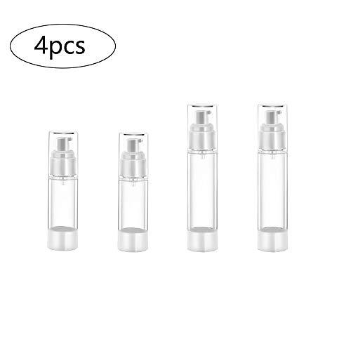 4 Piezas Botella de Spray de Viaje Portátil, Botellas de Bomba Sin Aire Plastico Envases Cosmetica Contenedor Rellenable de Viajes, para Aceites Esenciales Viajes Perfumes Loción(30ml, 50ml)