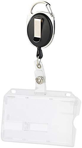 Ausweishalter Kartenhülle Ausweishülle Kartenhalter aus Hartplastik für Karten und Ausweis JoJo mit reißfester Schnur, Karabiner und Gürtelclip zur Befestigung