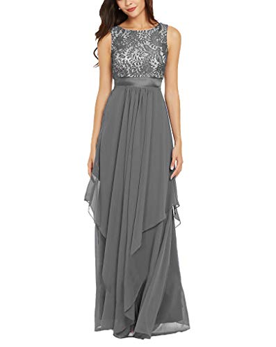 Newdeve Chiffon Formal Dreeses for Wedding Long Evening Mother Dresses Swing Grey (Apparel)