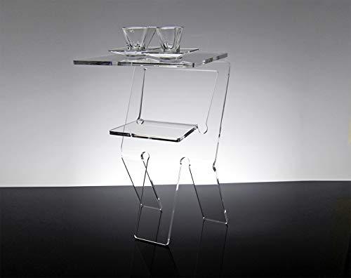 Slato Comodino da Notte dal Design Moderno in plexiglass Trasparente Oniro Grande (33 x 28 x 49 cm)