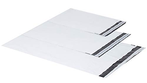 100 Weiße Plastik Versandtüten Versandbeutel Versandtaschen Folienversandtaschen LDPE Coex Folien 25x35cm + 5cm 60my, 1000 Stück
