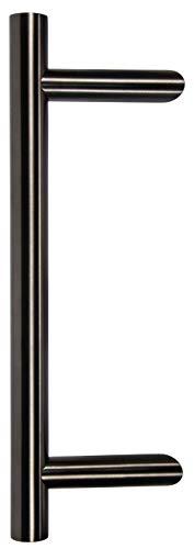 ALPENSTAHL Stangengriff Edelstahl Ziehgriff rund Stoßgriffe gekröpft für Holz-Zimmertüre | Länge: 400 mm | Haustür-Beschlag Edelstahl PVD schwarz | 1 Stück - Haltegriff für Eingangstüre & Schiebetüren