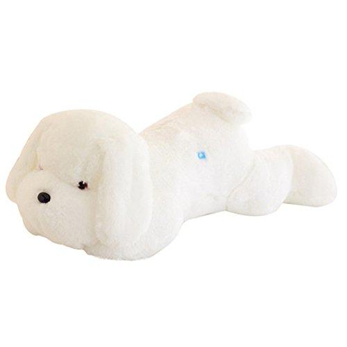 Verlike éclairage Lovely Dog Puppy Coussin Home Decor Glow Peluche Oreiller Doux en Peluche, Blanc, 50 cm