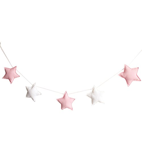 Homeofying Deko-Banner, nordische Sterne, zum Aufhängen in Kinderzimmer, Schlafzimmer oder als Dekoration, 5 Stück, Stoff, Rosa/Weiß