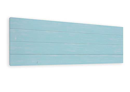 LA WEB DEL COLCHON - Cabecero de Madera Rústico Vintage para Cama de 135 (145 x 44 cms.) Turquesa | Cabeceros Madera | Dormitorio Matrimonio | Cabezal Cama |Estilo nórdico