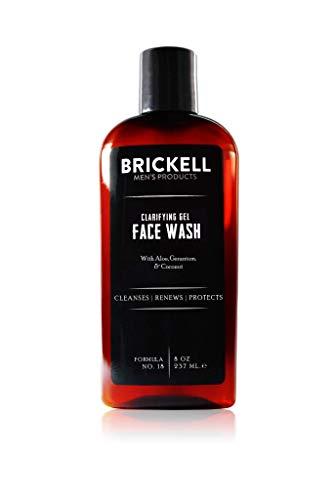 Brickell Men's Clarifying Gel Face Wash - Natürliche und organische Männer Gesichtsreinigung mit Aktivkohle - Männer Reinigungsgel mit Geranie, Kokosnuss und Aloe Vera - 237 ml - Parfümiert