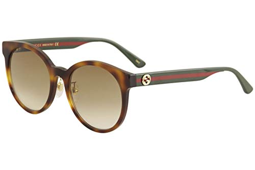 Brand: Gucci Model: GG0416SK Style: Fashion Round Frame/Temple Color: Havana/Green/Red - 005 Lens Color: Brown Gradient Size: Lens-55 Bridge-20 Temple-145mm Gender: Women's Made In: Italy