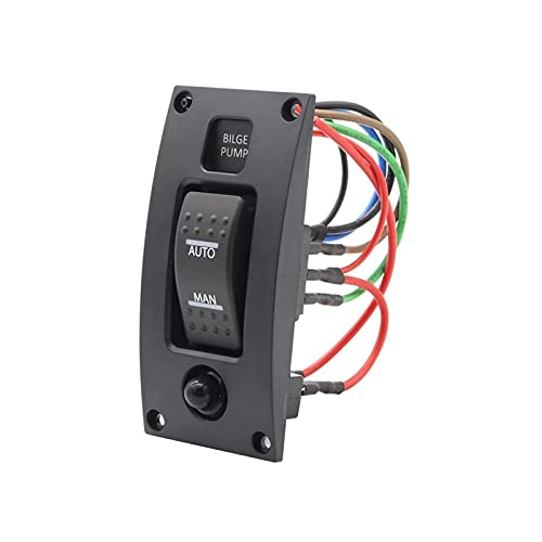 Hsmin 12-24V Interruptor de Bomba de sentina Alarma Abarca a Prueba de Agua Panel de Control de la Limpieza de la Cubierta Ajuste para Las Bombas de biela de Bote ON/Off/ON (Color : Black)