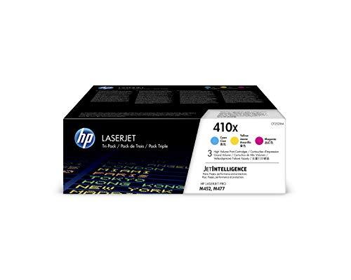 HP 410X CF252XM Cian, Magenta y Amarillo, Cartucho Tóner de Alta Capacidad Original, Pack de 3, para impresoras HP Color LaserJet Pro serie M452 y M477