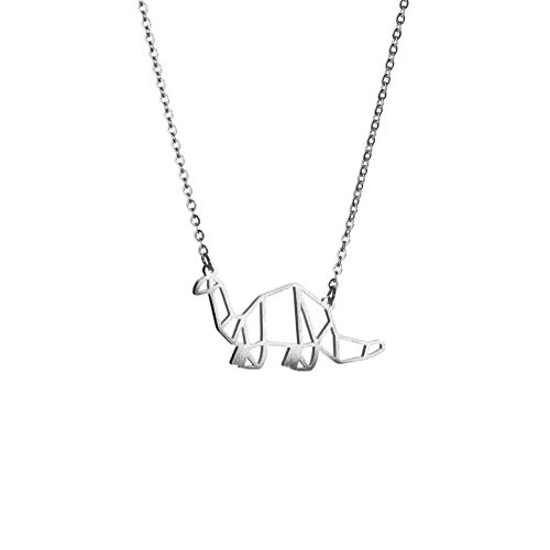 La Menagerie Dinosaur Silver Origami Jewellery & Silver Geometric Necklace – 925 Sterling Plated Silver Necklace & Dinosaur Necklaces for Women – Dinosaur Necklace for Girls & Necklace