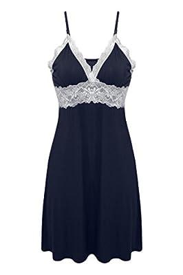 Ekouaer Womens Sleepwear Nighty Long Camisole Slip Sleep Chemise Dress, Navy, Medium