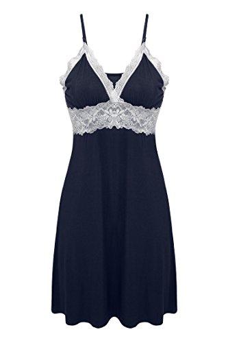 Ekouaer Womens Langerie Sleep Gown Nightshirt,Viscose-navy,X-Large