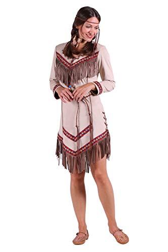 Indianer-Kostüm Damen Indianer-Kleid hell-braun mit Fransen Adler Falke Apache Karneval Fasching Hochwertige Verkleidung Größe S Beige